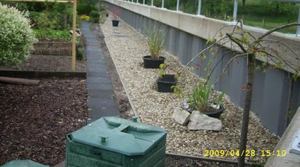 Rohrgeländer, Gestaltung der grundstückseitigen Vorgärten|Hochwasserschutzmaßnahme Augustdorf, beschichtete Spundwand mit Stahlbetonholm