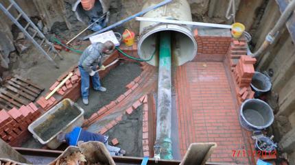 Verbindungsbauwerk aus Kanalklinkermauerwerk | Entwässerungskanalarbeiten Wiesestraße, Herford