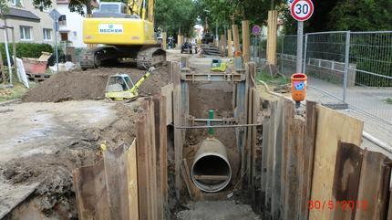 Verlegung von GFK-Rohren DN 1400 | Entwässerungskanalarbeiten Wiesestraße, Herford