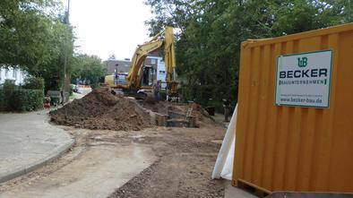 Verlegung von Steinzeugrohren, E+S Verbaukasten | Mischwasserkanal Stettiner Straße, Minden